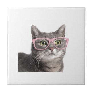 Gato divertido azulejo cuadrado pequeño