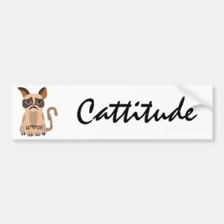 Gato divertido con el arte de Cattitude Pegatina Para Auto