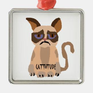 Gato divertido con el arte de Cattitude Ornaments Para Arbol De Navidad