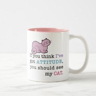 Gato divertido de la actitud de mi gato taza