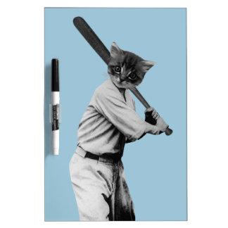 gato divertido del béisbol del vintage tablero blanco