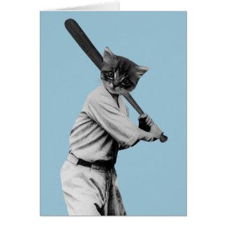 gato divertido del béisbol del vintage tarjeta de felicitación