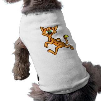 Gato divertido del dibujo animado de la cara playera sin mangas para perro