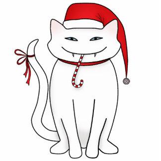 Gato divertido del navidad blanco