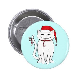 Gato divertido del navidad blanco chapa redonda 5 cm