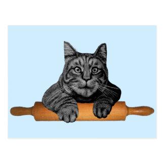 gato divertido del panadero del purrfect tarjeta postal