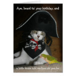 Gato divertido del pirata felicitación