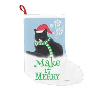 Gato divertido del smoking del navidad bota navideña pequeña