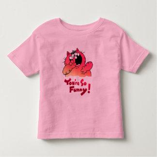 Gato divertido divertido del dibujo animado del camisas
