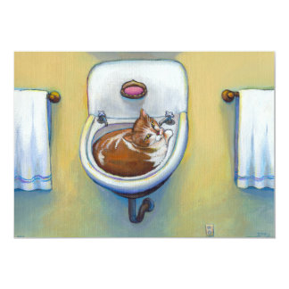 Gato divertido en el fregadero que pinta arte invitación 12,7 x 17,8 cm