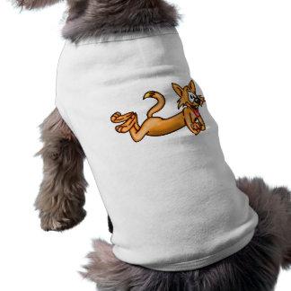Gato divertido juguetón del dibujo animado camisa de perro