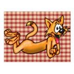 Gato divertido juguetón del dibujo animado postales