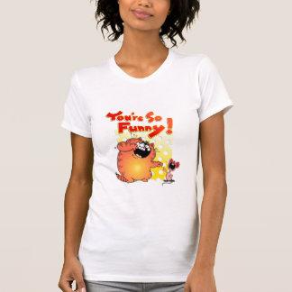 Gato divertido loco del dibujo animado del gato el camisetas