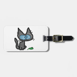 Gato divertido y su juguete del ratón etiquetas de equipaje