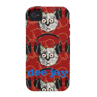 gato DJ con el auricular iPhone 4/4S Fundas