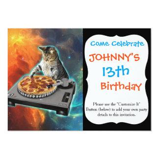 """Gato DJ con la tabla de los sonidos del disc Invitación 5"""" X 7"""""""