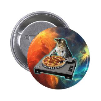 Gato DJ con la tabla de los sonidos del disc Pin Redondo De 2 Pulgadas