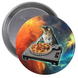Gato DJ con la tabla de los sonidos del disc Pin Redondo De 4 Pulgadas
