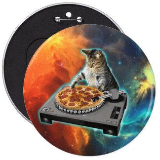 Gato DJ con la tabla de los sonidos del disc Pin Redondo De 6 Pulgadas
