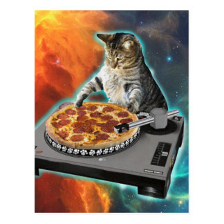Gato DJ con la tabla de los sonidos del disc Postales
