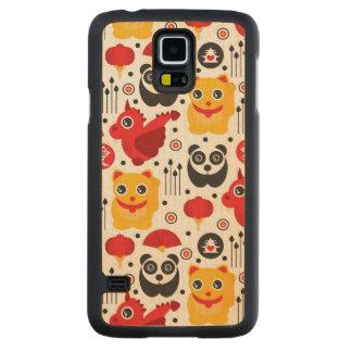 Gato, dragón, y panda afortunados de China Funda De Galaxy S5 Slim Arce