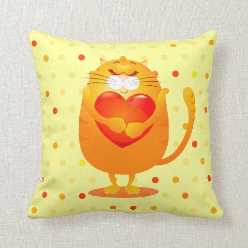 Gato dulce en amor, almohada