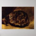 Gato el dormir de la A de Renoir Impresiones