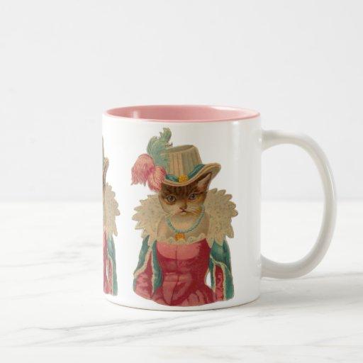 Gato elegante del vintage taza dos tonos