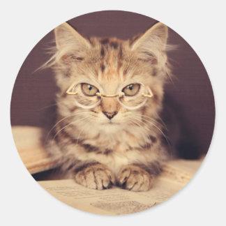 gato elegante pegatina redonda