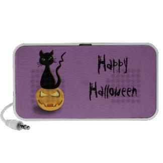Gato en altavoz portátil del Doodle de Halloween d