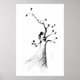 gato en árbol de la estrella póster