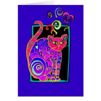 Gato en azul tarjeta de felicitación