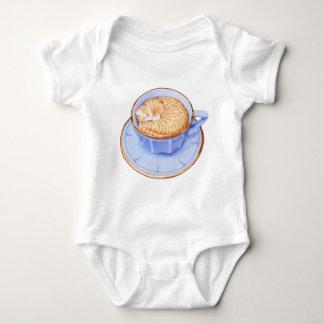 Gato en bebé del café playera