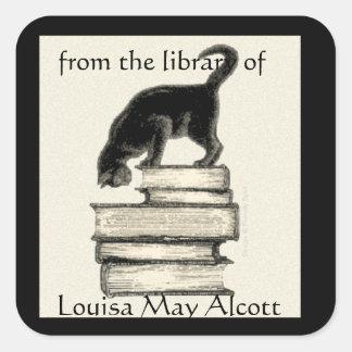 Gato en Bookplate cuadrado de los libros Pegatina Cuadrada