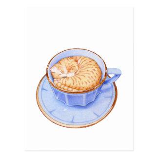 Gato en café tarjeta postal