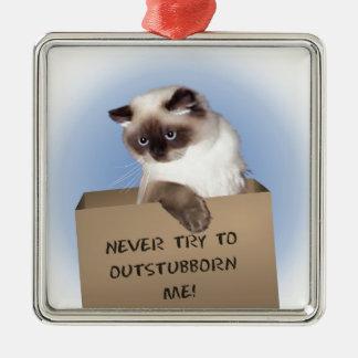 Gato en caja adorno navideño cuadrado de metal