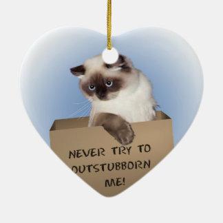 Gato en caja adorno navideño de cerámica en forma de corazón