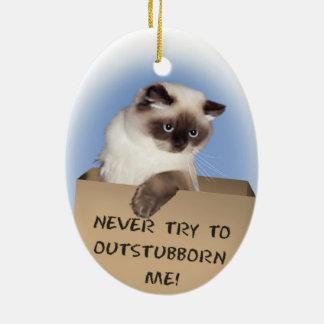 Gato en caja adorno navideño ovalado de cerámica