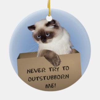 Gato en caja adorno navideño redondo de cerámica