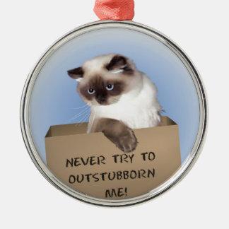 Gato en caja adorno navideño redondo de metal