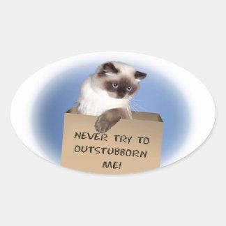 Gato en caja pegatina ovalada
