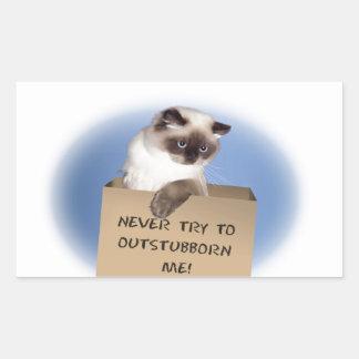 Gato en caja pegatina rectangular