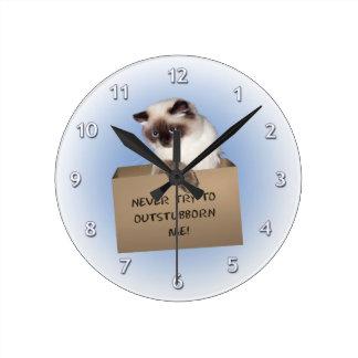 Gato en caja relojes de pared