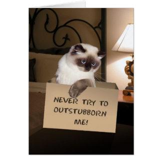 Gato en caja tarjeta de felicitación