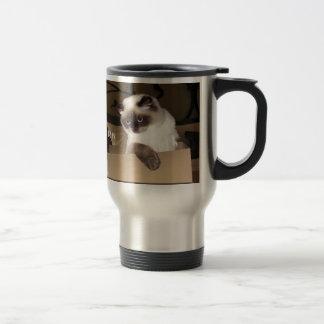 Gato en caja taza térmica