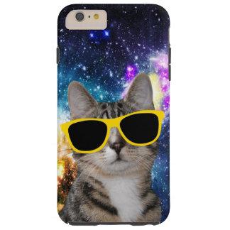 Gato en caso más del iPhone 6 del espacio exterior Funda Resistente iPhone 6 Plus