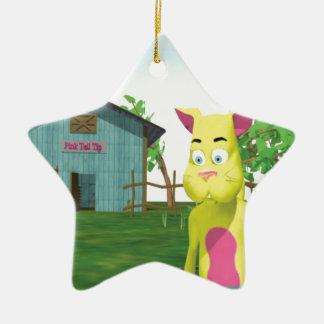 Gato en cubo de la leche adorno navideño de cerámica en forma de estrella