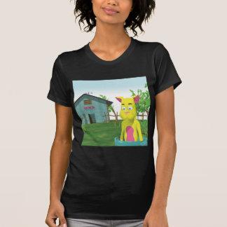 Gato en cubo de la leche camisas