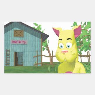 Gato en cubo de la leche pegatina rectangular