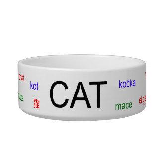 Gato en cuenco del mascota de muchas idiomas boles para gatos